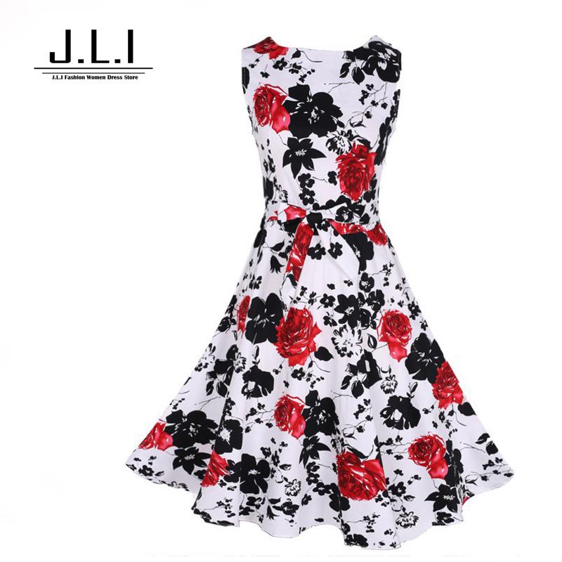 Print dresses floral dress party evening elegant Sleeveless Knee-Length  summer women dress vintage dress women clothes 2015