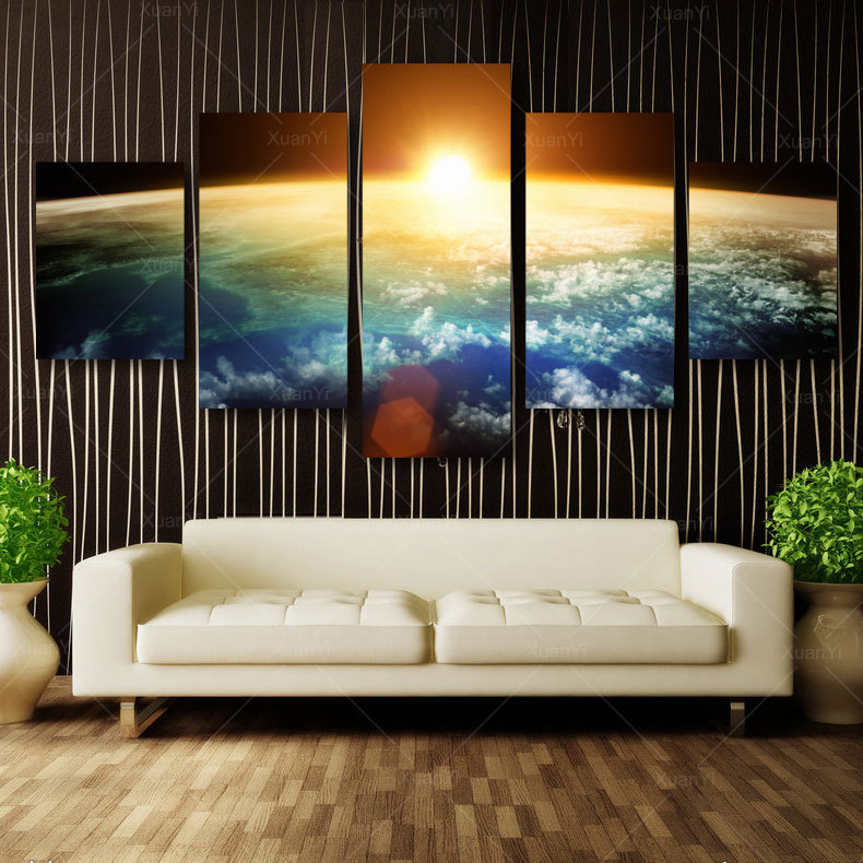 5 Panel Modern Sunrise Space Universe Handpainted Cuadros Wall Decor Canvas Art Home Decor For Living Room(No Frame) CO15015(China (Mainland))