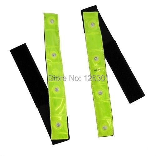 2Pcs Reflective Bands Flashing LED Lights Safety Cycling Running Strips