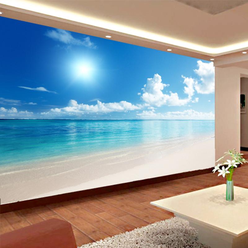 Custom Mural Wallpaper 3D Ocean View Blue Sky And Clouds Beach Living Room Bedroom Wall Covering Wallpaper Papel De Parede 3D(China (Mainland))