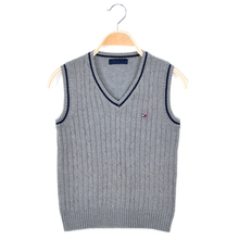 Children kids waistcoat navy gray white red color VNeck autumn winter boys girls knitted sweater vest