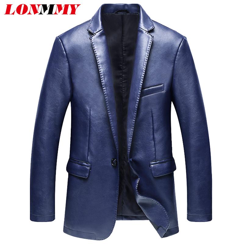 LONMMY 2017 Motorcycle Leather jacket men suits blazers for man PU Slim fit Fashion men blazer suit male leather jacket blazer