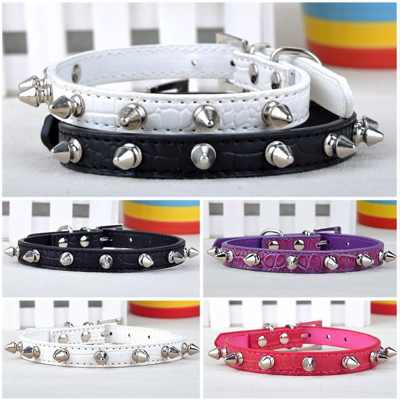 6 Colors 4 Size Chic Sweet Pet Cat Dog Rivet Lead Spiked Studded Strap Collar Buckle Neck PU Leather Pet Products LX*MHM471*SL(China (Mainland))