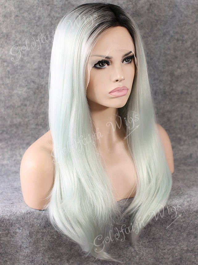 S02 24 Long Ombre Tone Dark Root Straight Fashion Ladies Heat Resistant Synthetic Celebrity Lace Front Wig Natural<br><br>Aliexpress