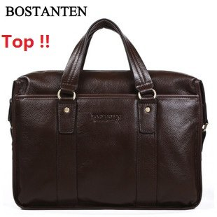 Wholesale+100% Genuine Leather + 100% Skin / Cow Lether / real Leater men handbags+ man business laptop bags+Free Shipping(China (Mainland))