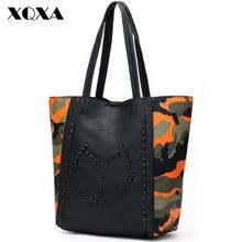 Горячая дизайнерский бренд сумка большие сумки на ремне женщины камуфляж мода женщины кожаная сумка путешествия мешок основной роковой де марка