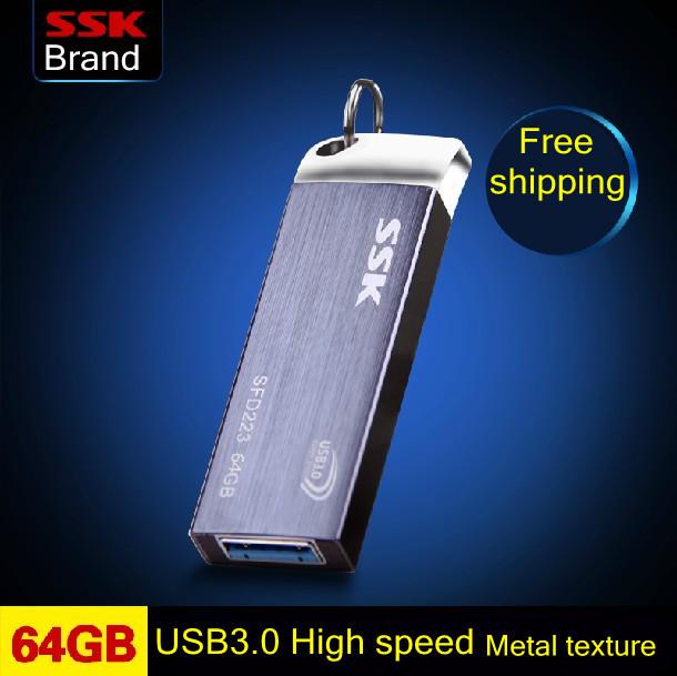 SSK SFD223 USB 3.0 Flash Drive 100% 64GB Pen Drive Metal High Speed Memory Usb Stick Free shipping(China (Mainland))