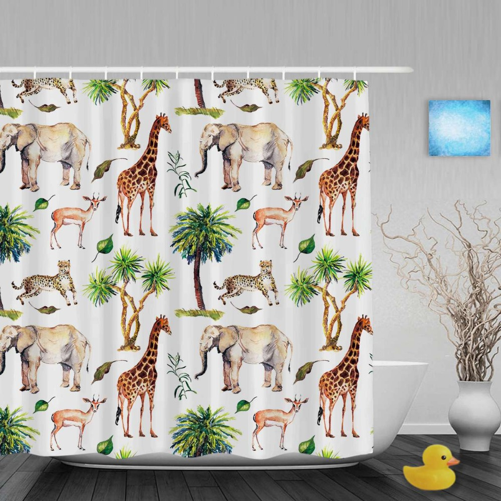 Peacock shower curtain hooks - Wild Animals Nature Theme Shower Curtain Giraffe Elephant Goat Bathroom Shower Curtains Watercolor Polyester Fabric