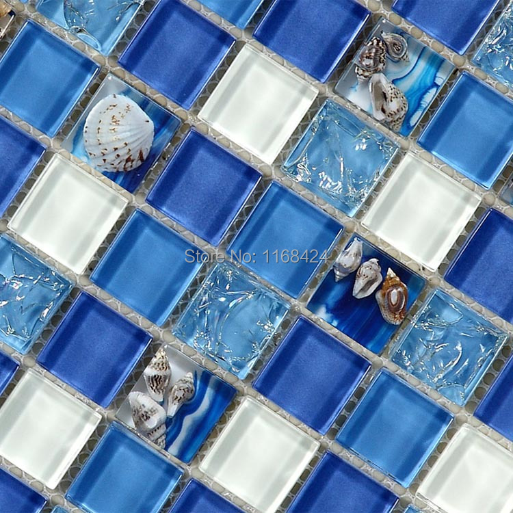 Deep blue sea shell glass mosaic tiles for kitchen for Blue mosaic bathroom accessories