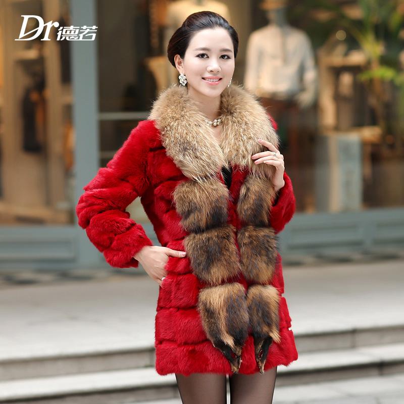 2013 large raccoon fur rabbit fur coat medium-long female f023