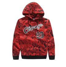 Alisister Newly men sportswear JORDAN 23 sweatshirt red rose weed hemp hoody print hoodie man outdoor jacket clothing(China (Mainland))