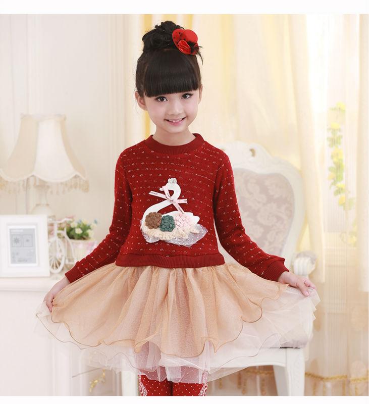 girls Kids Dress fall Little Swan sweater dress princess dress, children's wear/dress/clothes 2color size100-140(China (Mainland))