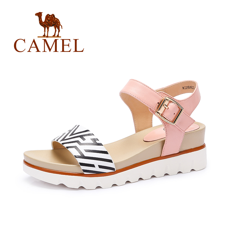 Camel Sandals 2016 Fashion Genuine Leather Wedges Sandals Women Shoes Sandals Summer Non-slip a62504623(China (Mainland))