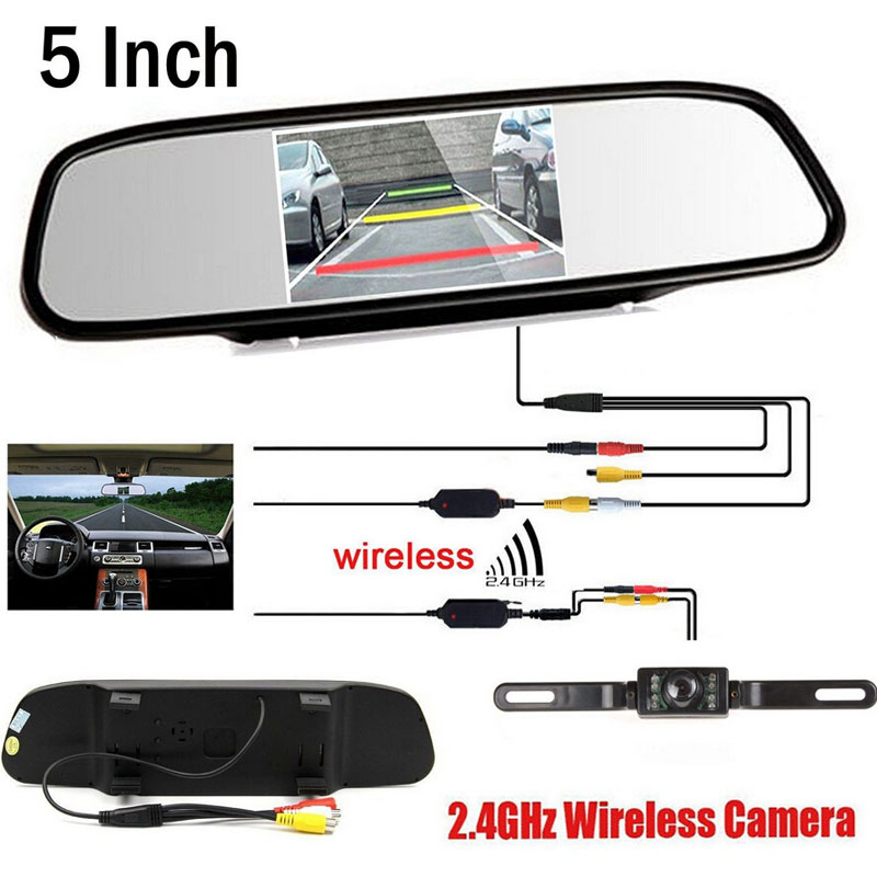 Wireless Video Car CCD Rear View Camera Car parking backup camera Connect HD 5 inch Rearview Mirror Parking Monitor,FreeShipping(China (Mainland))