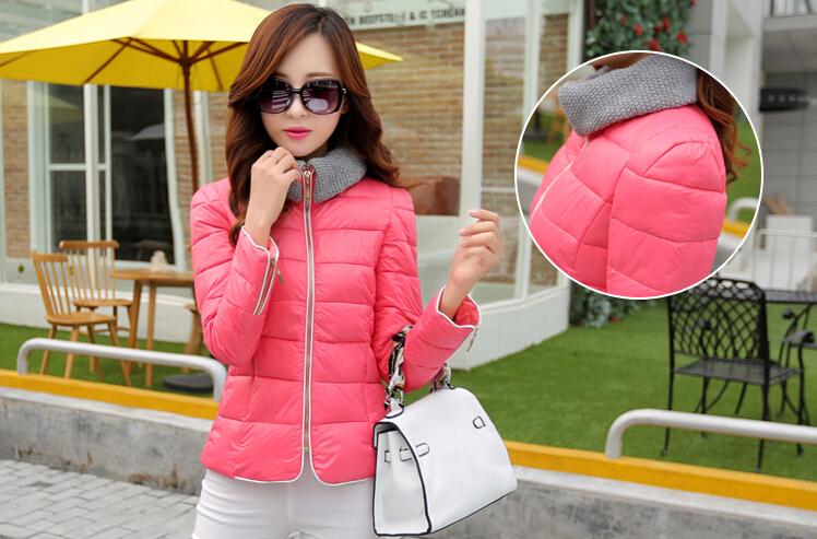 2014 New Collar Women Short Jacket Slim Zipper Sport Winter Fall Fashion Warm White Coat - Edison Yang store