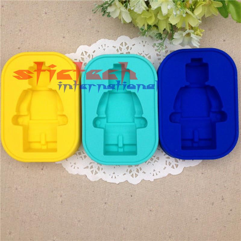 by dhl or ems 200 pieces high quality 100% Food grade Silicone Lego Mold Super Big Robot Lego Cake Mold Ice Mold Baking Pan(China (Mainland))