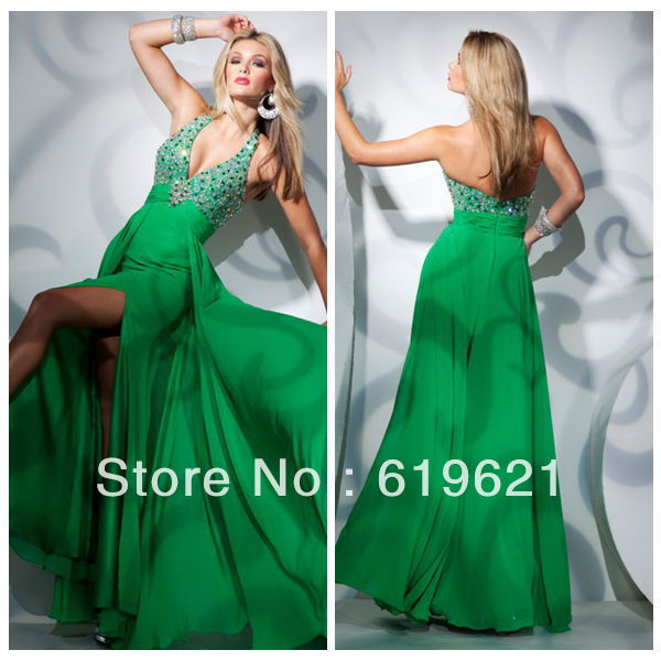 Sp31 2013 New Style Elegant Sheath Cheap Halter Ankle Length Split Chiffon Green Beading Evening Dress Prom Party Dresses - Romantic Wedding Online store