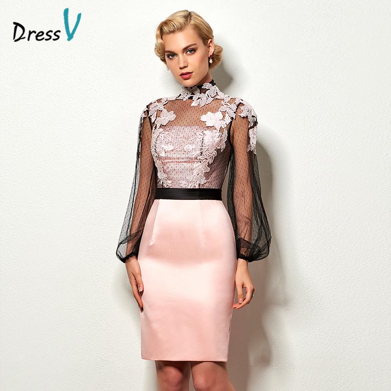 Dressv light pink short cocktail dress high neck long sleeves appliques button knee length cocktail dresses formal party dress(China (Mainland))