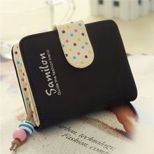 2016 New Fashion candy color Leather Women Wallets Short Design Polka Dots Wallet Purse Handbag With Card Holder Free Shipping #