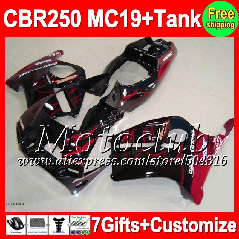 7gifts+Tank HONDA Red flames CBR250RR MC19 CBR 250RR 1986 1987 1988 1989 9C103 black CBR250 RR 86 87 88 89 Fairings  -  Motoclub store