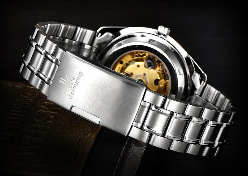 Новости 2016 IKcolouring Супер Светящиеся Мужчины Самостоятельная Ветер Автоматические Механические Часы Передач Скелет Hollow Сталь Ремешок Мода Наручные часы