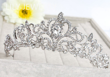 2015 New European Style Tiaras Silver Plated Hair Jewelry Top Crystal Floral Crowns for Bride Wedding