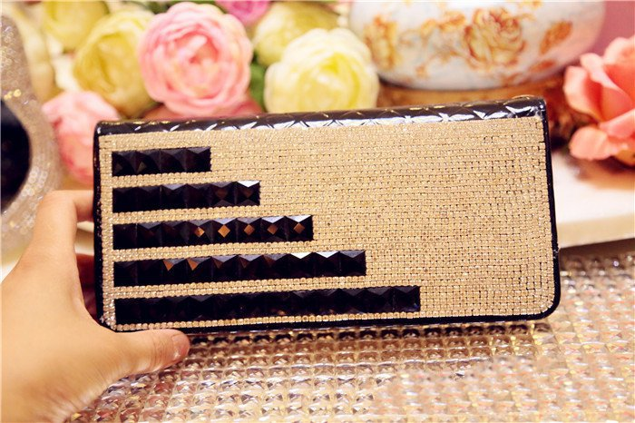 Hot sales fashion diamond hand bag purely handmade set drill ladies long style wallet free shipping(China (Mainland))