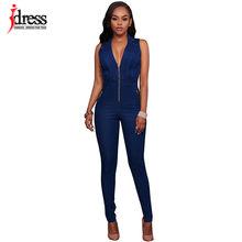 IDress, новинка, летние женские облегающие повседневные Комбинезоны, джинсы с глубоким v-образным вырезом, без рукавов, комбинезоны, женские се...(China)