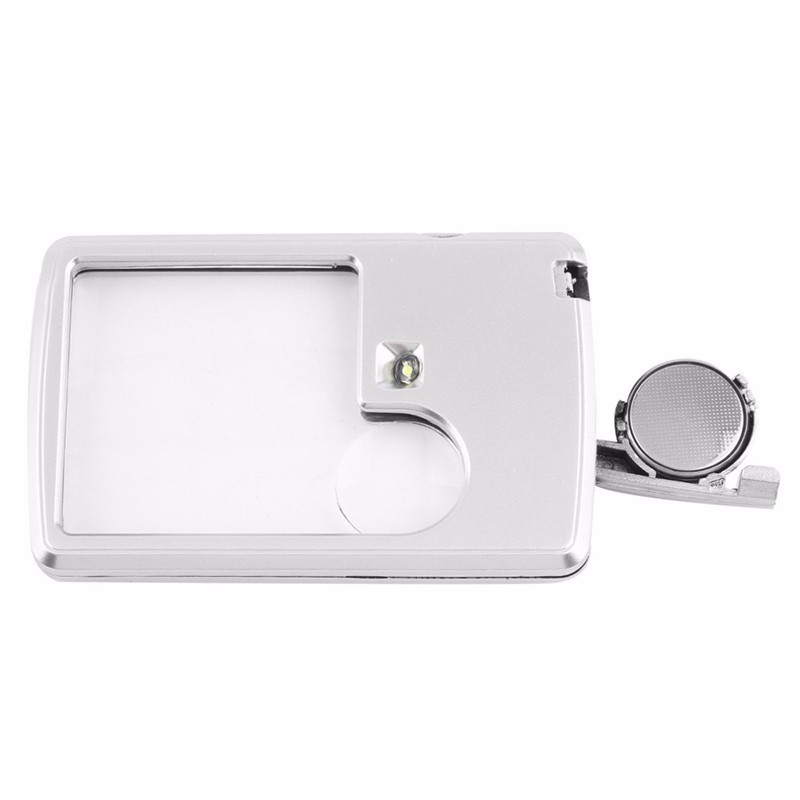 Credit Card 88*57*9mm Led Magnifier Loupe with Light Leather Case Magnifying Glass Lupa Lupa Com Luz Lupa Deaumento