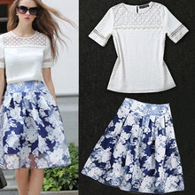 2016 summer 2 piece set women cropped top and print blue skirt hollow out sexy white t shirt plus size xxxl suits the feminine