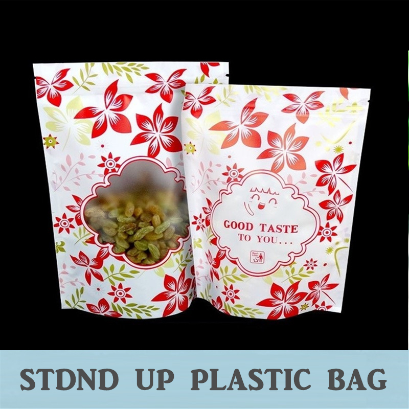 Flower Print Standup Plastic Bag With Zipper Closure, great for food storage use 100Pcs/Lot(China (Mainland))