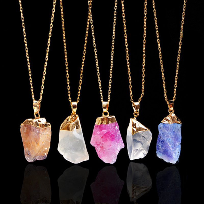 18K Gold Plated Rough Natural Stone Necklaces Joias Ouro Banhado Amethyst Crystal Druzy Blue Pendant Quartz Necklace For Women(China (Mainland))