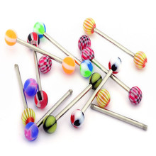 Tongue Stud Hot Body Piercing Jewelry The Color Of Stainless Steel Earrings multi-color fine jewelry