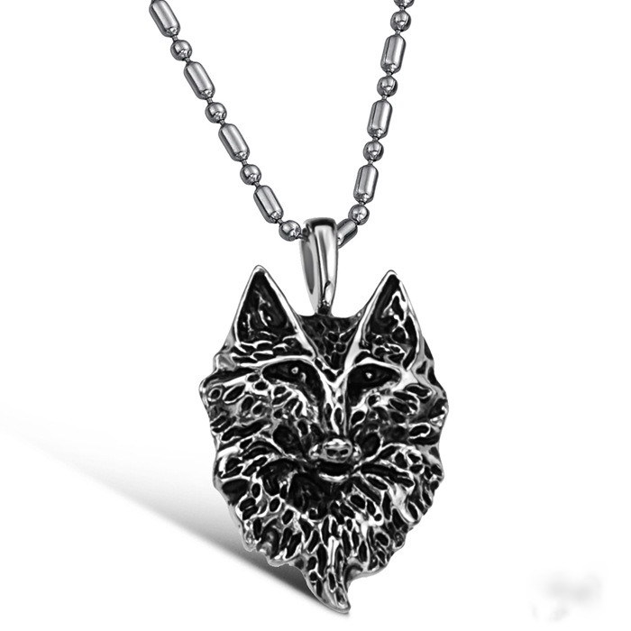 55cm 16g 316l stainless steel wolf pendant necklace