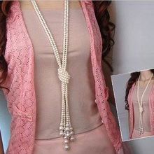 Delicate 1pcs 130cm (51 inch) Long Knotted Multi Simulated Pearl Necklace Women Fashion Chain Accessories Jewelry for Girl(China (Mainland))