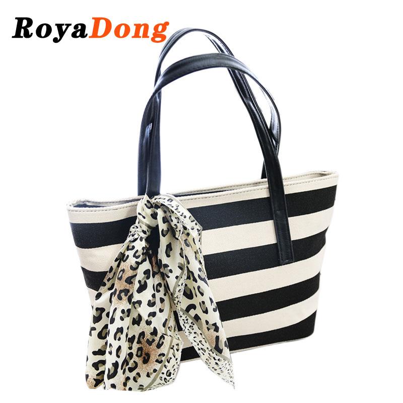 RoyaDong 2015 New Women Handbags Tote Fashion Patchwork Canvas Women Shoulder Bags Striped Scarves Bag for Women Bag Ladies(China (Mainland))
