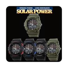 Para hombre de la energía Solar a prueba de agua Digital fecha de alarma de cuarzo de goma reloj deportivo
