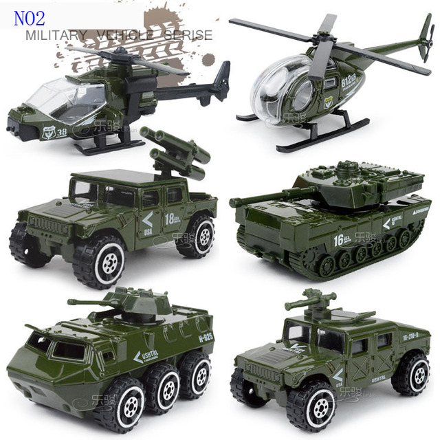 Baby toys car Diecast and toy vehicle 1:87 alloy metal suit  6 pieces car model boy toys frie truck military Policy car toys