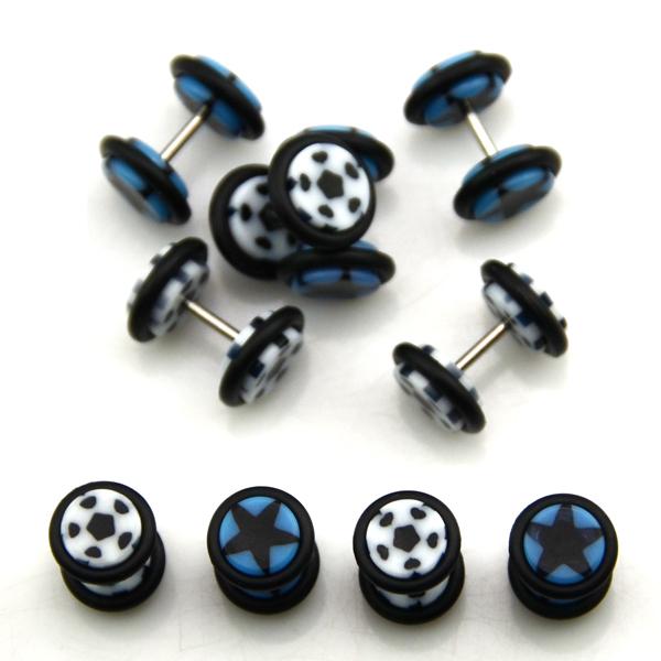 Fake Acrylic Ear Plugs Earring Body Jewelry Black Dot &amp; Black Star 16g Lot of 200pcs<br><br>Aliexpress