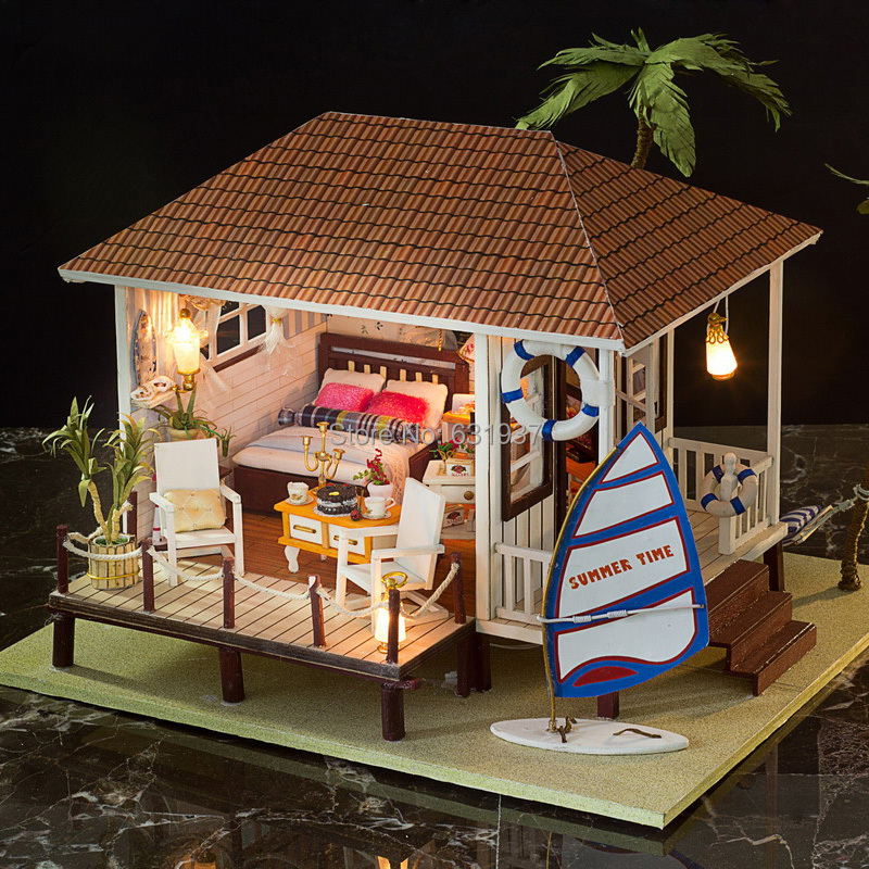 Wooden 3D Puzzle Miniature Doll House Wood Handmade Dolls Toys miniatura Dollhouse Furniture Litht Birthday Gift-The beach house<br><br>Aliexpress