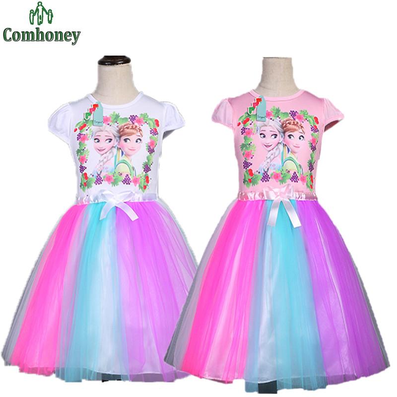Girls Snow Queen Elsa Rainbow Tutu Dress Kids Hello Kitty Party Ball Gown Princess Wedding Dresses For Flower Girls Clothing(China (Mainland))