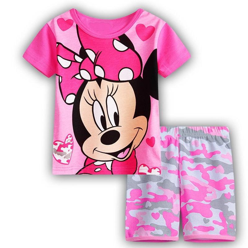 21 Design Cartoon Mickey Minnie Pajamas Short Sleeve Pijamas Baby Despicable Me Pyjamas Children boys girls kids Clothing Set(China (Mainland))