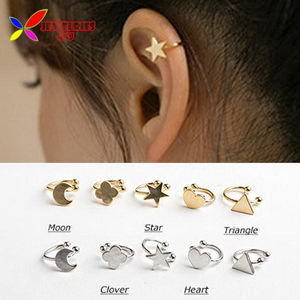 2014 fashion gold silver copper metal moon clover star heart triangle no pierced clip earrings ear cuffs for women boucle bijoux(China (Mainland))