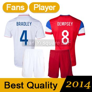 Free Shipping United States of America Soccer Jerseys Best Thai Quality BRADLEY Jersey 2014 DEMPSEY ALTIDORE Jersey Football Kit(China (Mainland))