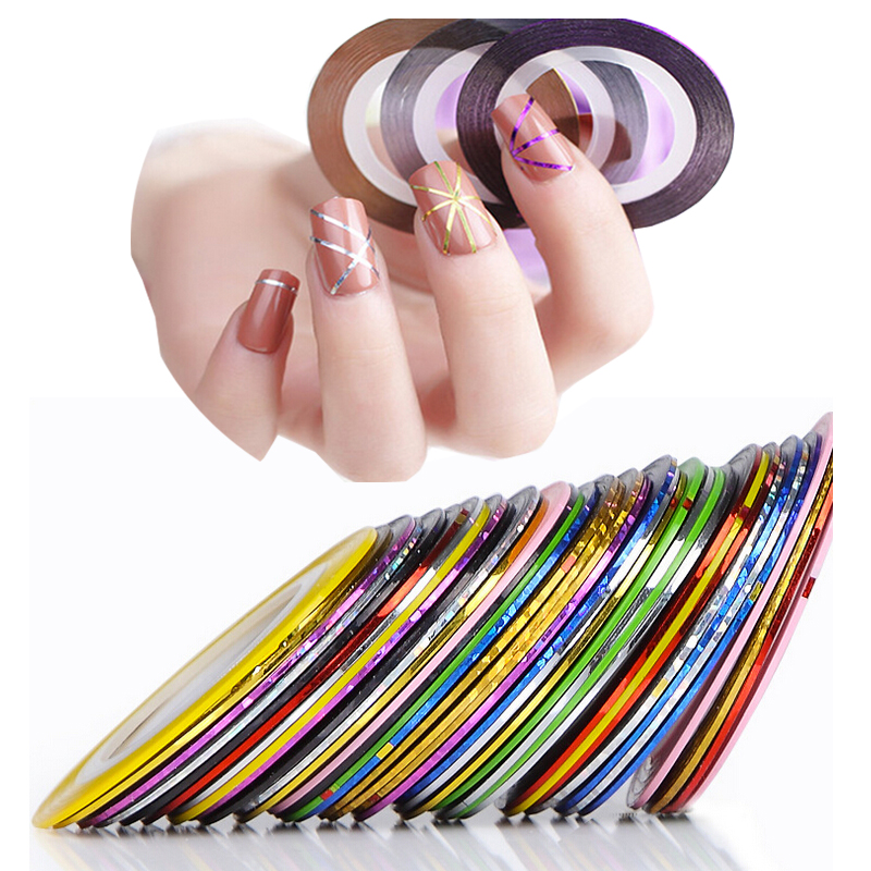 10PCS Mixed 10 Colors Beauty Nail Rolls Striping Tape Line Nail Art Tips Decoration Accessories Makeup Fingernail Sticker Tools(China (Mainland))