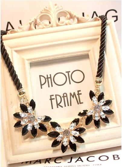 lackingone Hot sale Brand style multi layer Weave Rhinestone Flower water drop necklace jewelry statement