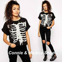 punk graphic tees women t shirt 2015 rock clothing summer short tops vestiti donna skull shirt skeleton top crop high street(China (Mainland))