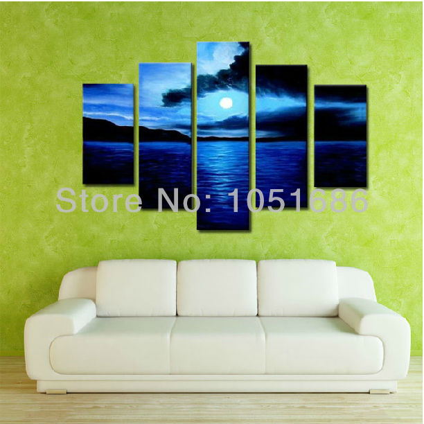5 Piece Sets Sun Blue Ocean Canvas Art Sea Landscape Oil Painting Hand Painted Pictures On The Wall For Home Decoration No Frame(China (Mainland))