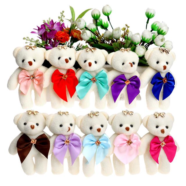 Для Рождественский Подарок Конфеты Лук Медведь Плюшевые Игрушки Атлас Мультфильм букет плюшевый медведь кукла свадьба детская игрушка телефон ключ кулон
