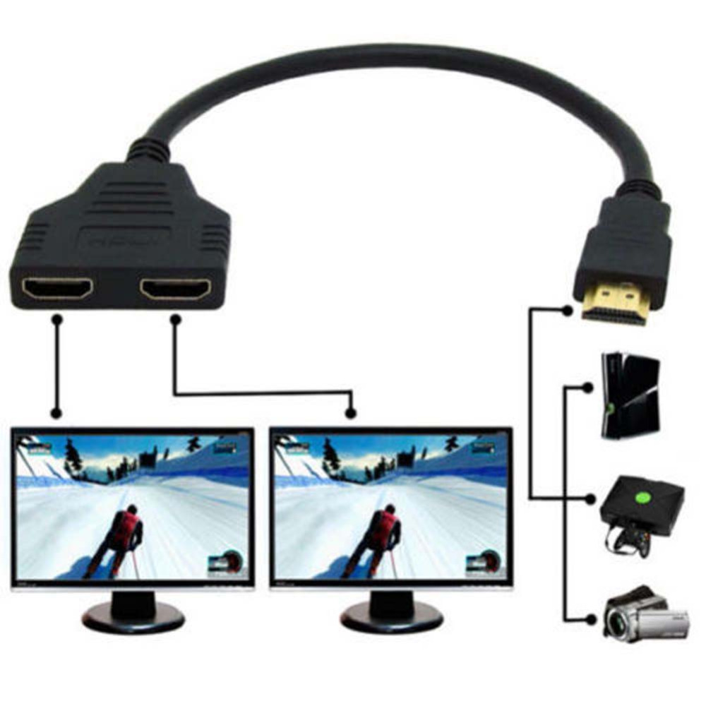 New Arrival HDMI 1 Male To Dual HDMI 2 Female Y Splitter Cable Adapter in HDMI HD LED LCD TV 30cm 2016(China (Mainland))
